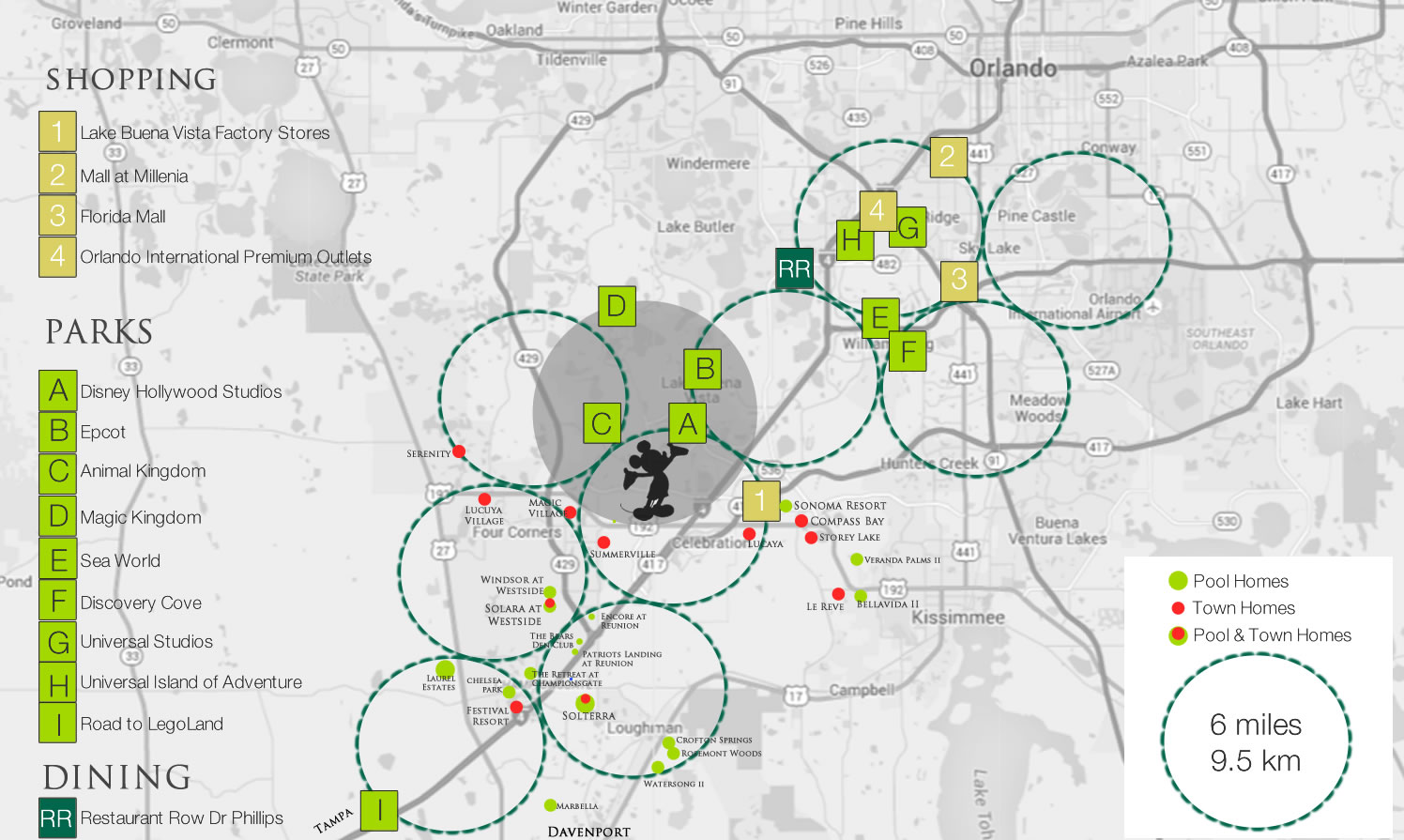 Orlando vacation home resort map in relation to parks and malls