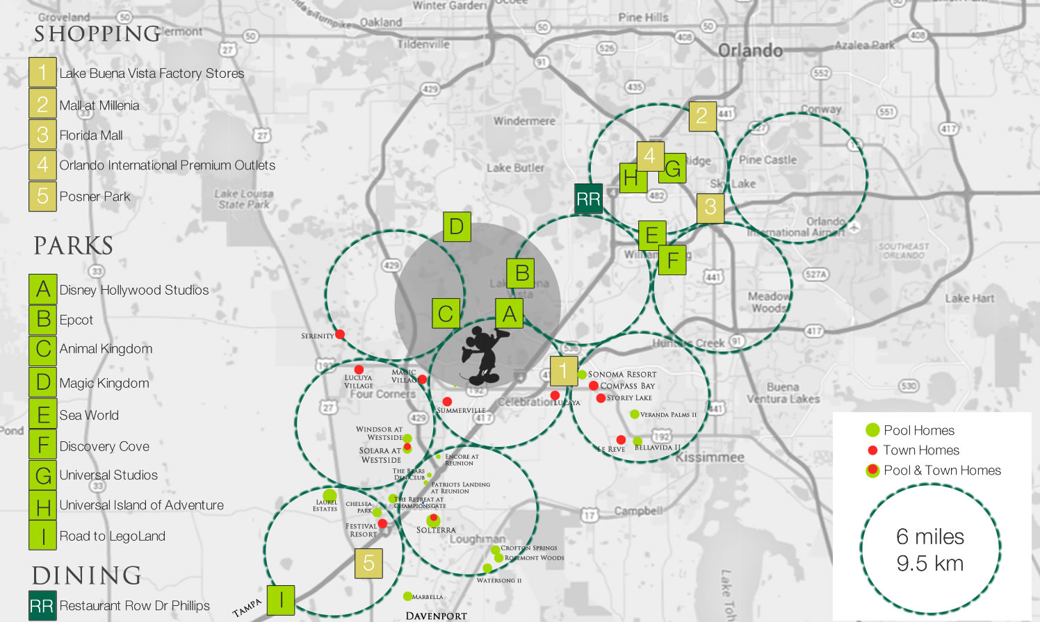 Orlando resort communities, theme parks and shopping map