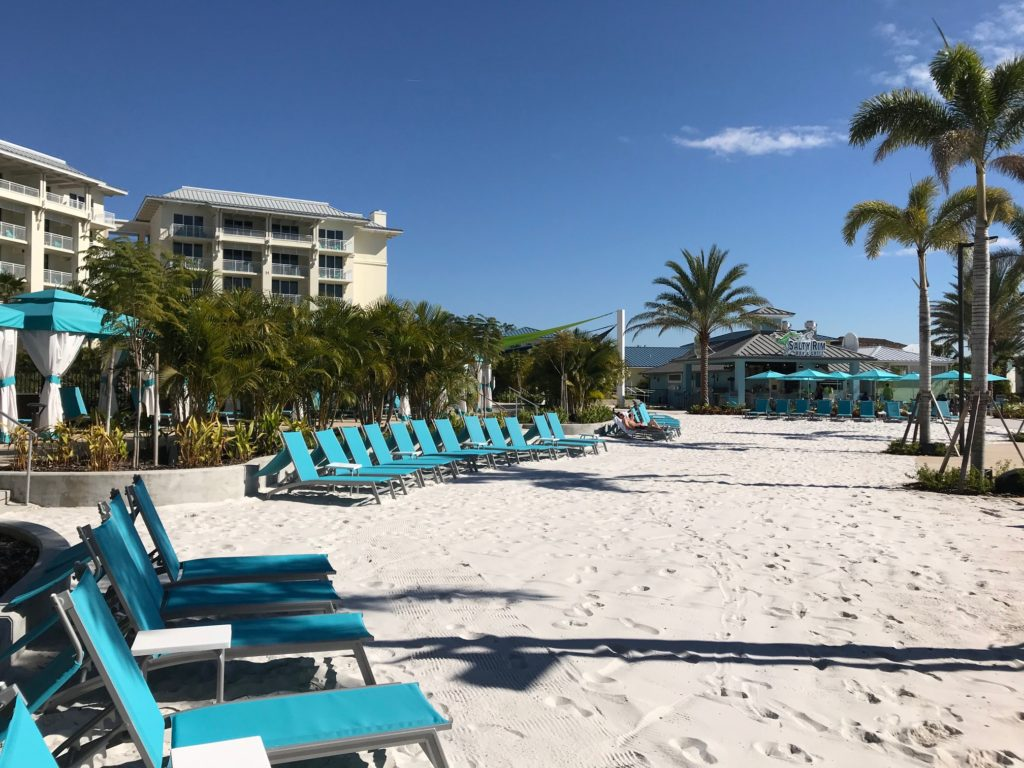 Unique soft sand beach at Margaritaville Resort Orlando